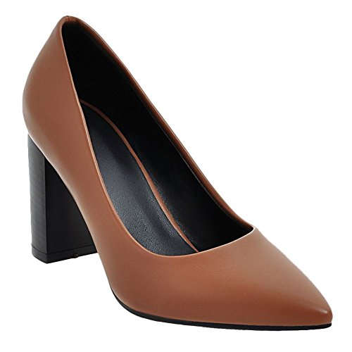 Carolbar Womens Office Lady Pointed Toe Retro High Heels Pumps Shoes Brown