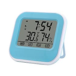 Digital Hygrometer, Indoor Thermometer with Touchscreen and Backlight, Temperature Humidity Monitor for Home Office Bedroom Warehouse Basement(Blue)