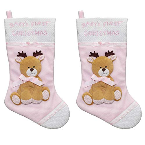 - New Traditions 2-Pack of 16 inch Xmas Character 3D Plush Fleece Baby's First Christmas Stockings with Reindeer Applique (Pink)