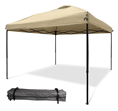 XGEAR 10 x10 Pop UP Canopy Tent Instant Shelter Straight Leg with Wheeled Carry Bag, Beige