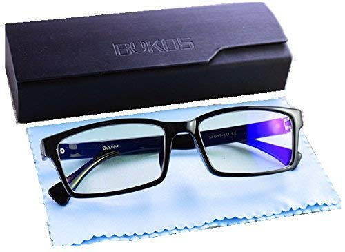 Blue Light Blocking Computer Glasses by Bukos - ORIGINALS - Men / Women - HD ALL DAY Protection - FDA Approved - Sleep Better - Reduce Eye strain, Glare, Fog - Filter UV - (0.00) - 100% Guaranteed (Best Computer Glasses Review)