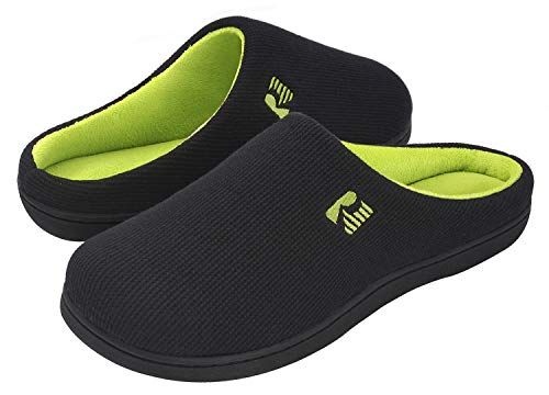 RockDove Men's Original Two-Tone Memory Foam Slipper, Size 10.5 US Men, Black/Lime (Best Small Indoor Dogs For Families)