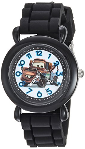 Disney Boy's 'Cars 3' Quartz Plastic and Silicone Casual Watch, Color:Black (Model: WDS000448)