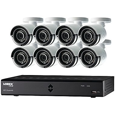 Lorex 16-Channel, 8-Camera Indoor/Outdoor Wired 720p 2TB DVR Surveillance System Black/white LHA21162TC8B