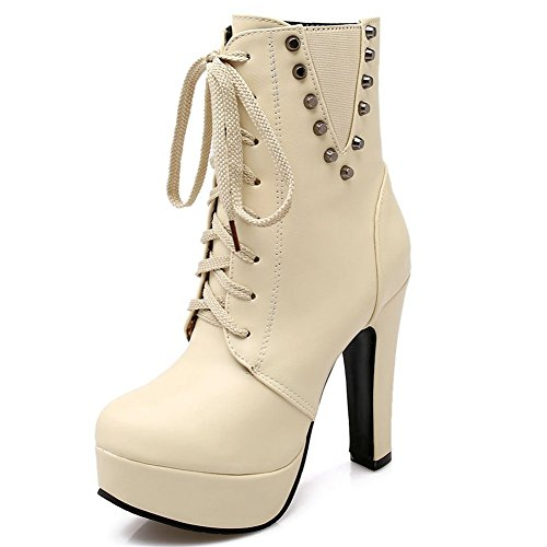 Kaloosh Women's Mature Pointed Toe Lace up Block High Heels Zip Platform Ankle Boots Party Shoes 3beige