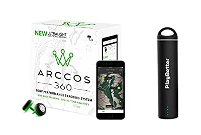 Arccos 360 (New Version) Golf GPS Tracking System (for iOS & Android) 14-Sensor Set Bundle with PlayBetter Portable Smartphone Charger by Arccos Golf