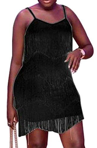 Tiered Tassels Dress Women Fit Slim Mini Strap s Sexy Club Black Spaghetti Domple YZOFqfw
