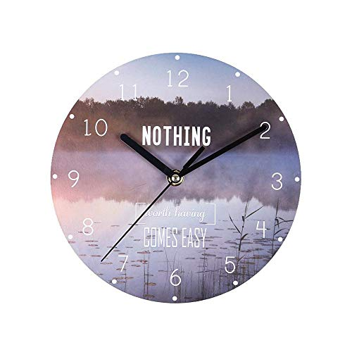 Cordless Wall Clock, 7.8'' Slim Commercial Wall Clock Universal No Tick Wall Clock Battery Operated Round Easy to Read for Home/Office/School Decoration (Universal Round Wood Clock)