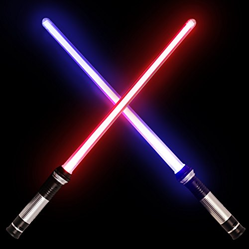 Light Saber Laser Sword 2 in 1 LED Lightsaber Party Favor Set with Light and Sound Effect 26inch