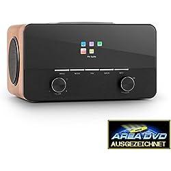 Auna Connect 150 BK 2.1 Internet Radio Lettore USB MP3 Wi-Fi LAN DAB + FM RDS (ricezione di oltre 10.000 stazioni, funzione sveglia, altoparlanti laterali, telecomando)