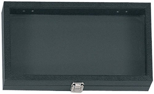 (Hard-Sided Black Jewelry and Collector's Display Case 15 x 9 x 2-Inches Felt-Lined Glass Top)