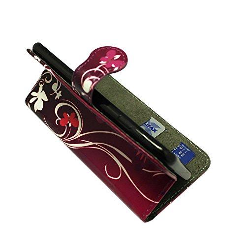Kamal Star® Apple iPhone 6 6S Purple Butterfly Book PU LEDER CASE COVER HÜLLE ETUI TASCHE SCHALE + STYLUS