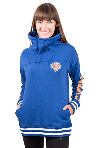 NBA New York Knicks Women's Fleece Hoodie Pullover Sweatshirt Funnel Neck, Medium, Royal - Sweatshirt Hoody Ladies Pullover