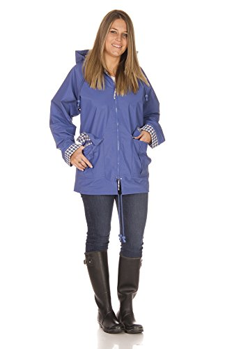 Rain Slicks Women's Classic Look Raincoat Hooded Plaid Lined Waterproof Jacket 1X Plus Periwinkle (Plaid Raincoat Lined)