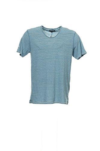 Guess Blue Micro Horizontal Striped V-Neck T-Shirt , Size Large