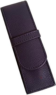 Anders - Estuche para bolígrafos de piel auténtica, color azul 14 x 4,5 x 2 cm, estuche de piel para 2 bolígrafos., color Negro: Amazon.es: Oficina y papelería