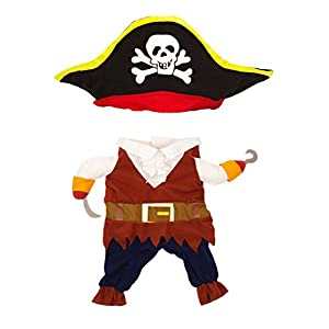 Topsung Cool Caribbean Pirate Pet Halloween Costume for Small to Medium Dogs/Cats