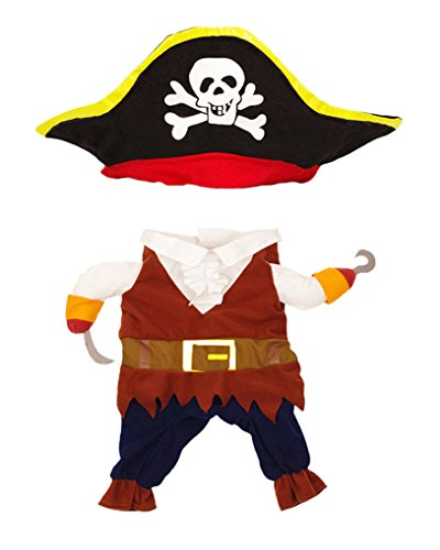 Topsung Cool Caribbean Pirate Pet Halloween Costume for Small to Medium Dogs/Cats, Size S ()