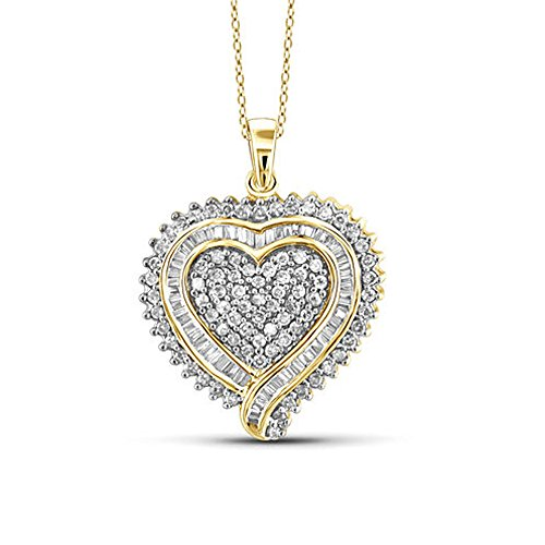 (TrioStar 1.50 CT Round & Baguette CZ Diamond Pendant Heart Necklace 14k Yellow Gold Plated Fine Woman's Jewelry 18