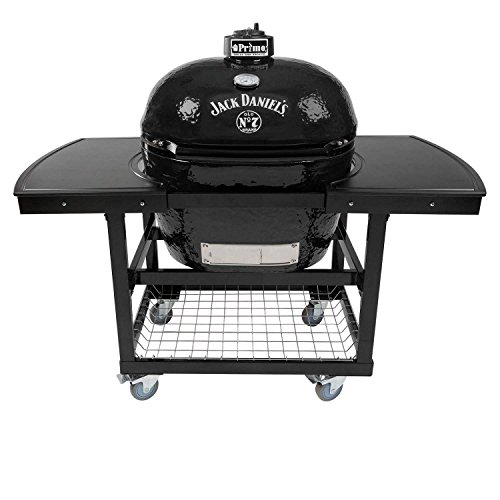 Primo Oval XL 400 Ceramic Smoker Grill Jack Daniel's Edition On Cart with 2-Piece Island Top by Primo