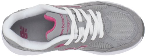 New Balance unisex-child 990v3 Grade School Running Shoes Grey with Pink & White x1muju