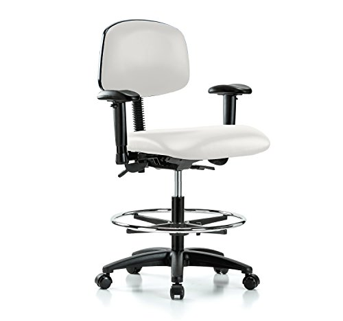Multi Task Swivel (PERCH Multi Task Swivel Chair with Foot Ring and Wheels for Carpet or Linoleum, Workbench Height, Adobe White Vinyl)