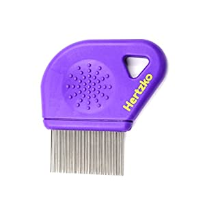 Hertzko Long Teeth Flea Comb Closely Spaced Metal Pins Removes Fleas, Flea Eggs and Debris, from Your Pet's Coat – 25mm Long Metal Teeth are Great for Long Hair Areas on Dogs and Cats