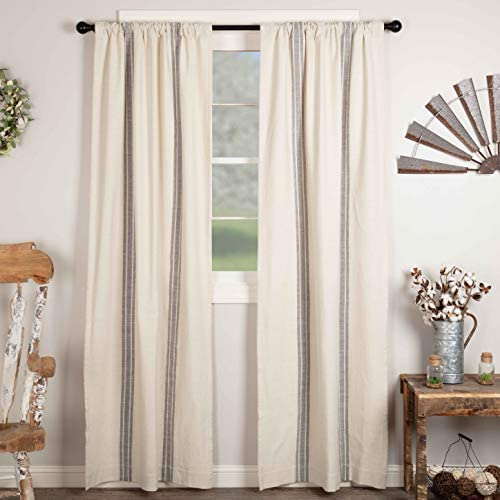 Piper Classics Market Place Gray Grain Sack Stripe Panel Curtains, Set of 2, 96 Long, Farmhouse Style Curtain, Gray Cream Striped Window Drapes