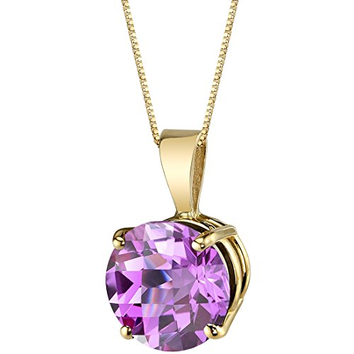 14 Karat Yellow Gold Round Cut 2.50 Carats Created Pink Sapphire -