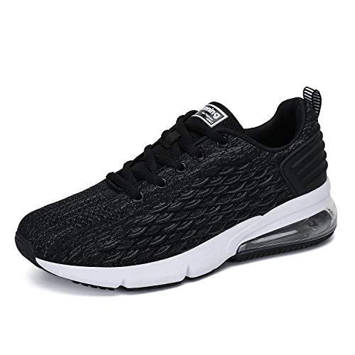 FLARUT Men's Running Shoes Fashion Sports Sneakers Knit  Air Cushion Lightweight Casual Athletic Gym Tennis Training Walking(Black,EU42)