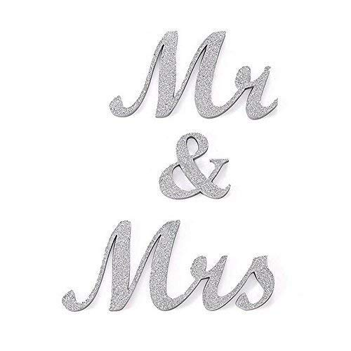 DGQ 6-Inch Silver MR & MRS Wooden Letters for Wedding Table Signs - Vintage Style Wooden DIY Decor for Wedding Decoration