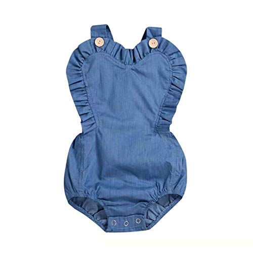 0dbd5e31283 Happy Town Infant Baby Girls One Piece Short Sleeve Ripped Demin Jeans Ruffle  Romper Sunsuit Outfits