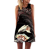 Fvjikne Women Rose Print Casual Summer Dress Sleeveless Round Neck Boho Chiffon Dresses Silver XL