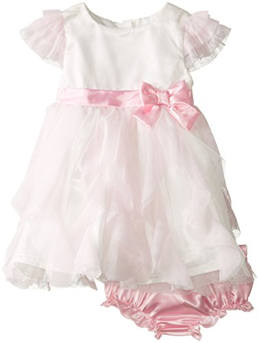 Nannette Baby Girls' Pink Satin Dress with Mesh Cascading Ruffle Skirt and Matching Panty, Pink, 18 Months