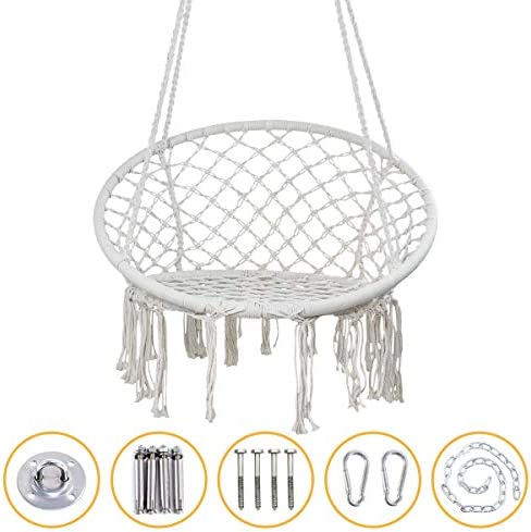 YRYM HT Macrame Swing Hammock Chair – Macrame Hanging Chair with Durable Hanging Hardware Kit, Indoor Outdoor Macrame Swing Chairs for Bedrooms, Patio, Porch, Deck, Yard, Garden