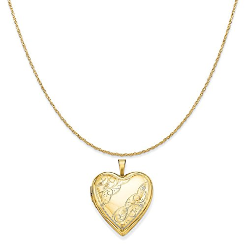 14k Yellow Gold 20mm Side Swirl Heart Locket Pendant on 14K Yellow Gold Rope Chain Necklace, 18