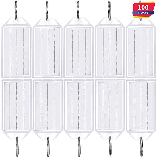 Tatuo 100 Pieces White Tough Plastic Key Tags with Split Ring Label Window Id Luggage Tag Key Ring Key Chain