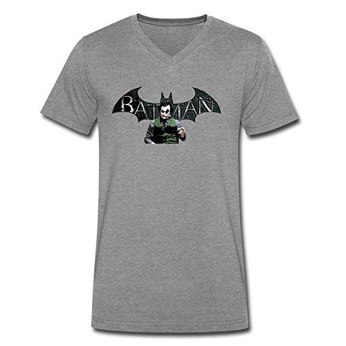 DeMai Men V-Neck 100% Cotton Batman The Joker The Dark Knight T Shirt L DeepHeather