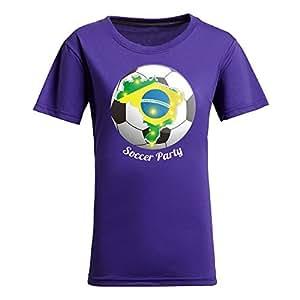 MEIMEIBrasil 2015 FIFA World Cup Theme Short Sleeve T-shirt,Football Background Womens Cotton shirts for Fans PurpleMEIMEI