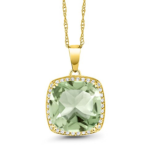 Gem Stone King 10K Yellow Gold Green Prasiolite and White Diamond Pendant Necklace, 6.74 Ct Cushion Cut with 18 Inch Chain