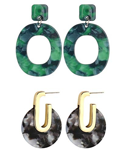 2 Pair Acrylic Earrings for Women Girls Cellulose Acetate Earrings Oval Pendient Fashion Jewelry (Style C) ()