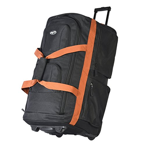 """Olympia Luggage 29"""" 8 Pocket Rolling Duffel Bag (Black w/ Beige - Exclusive Color)"""