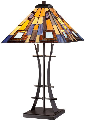 Jewel Tone Tiffany Style Art Glass Iron Base Table - Lamp Art Table Brown Glass