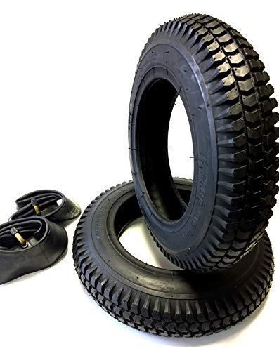 Lot de 2 pneus de fauteuil roulant de 3.00-8, noir + 2 tuyaux de valve coudé, scooter Racing Profil léger 4 PR stables…