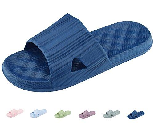 Zapatillas de Baño Unisex Zapatos de casa Sandalias de Piso Casuales y Al Aire Libre Antideslizantes Para Hombres y Mujeres Azul Oscuro