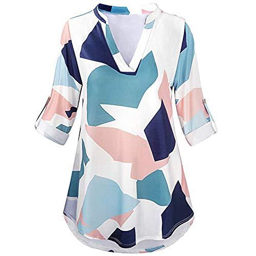 Womens 3/4 Roll Sleeve Shirt Notch Neck Loose Tops Plaid Tunic ()