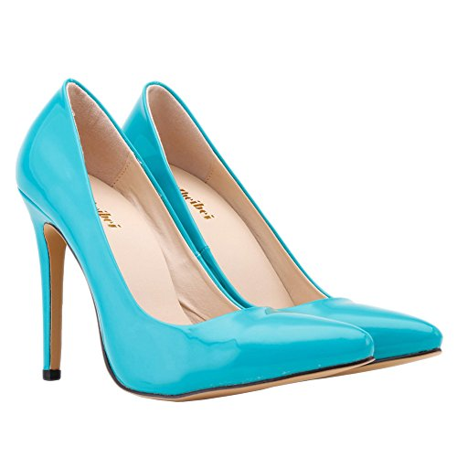 Heels Women Zbeibei Work Corset PU Shoes Women's Blue Style Pumps Neon Court Faux Leather High 4qnXZFpqP