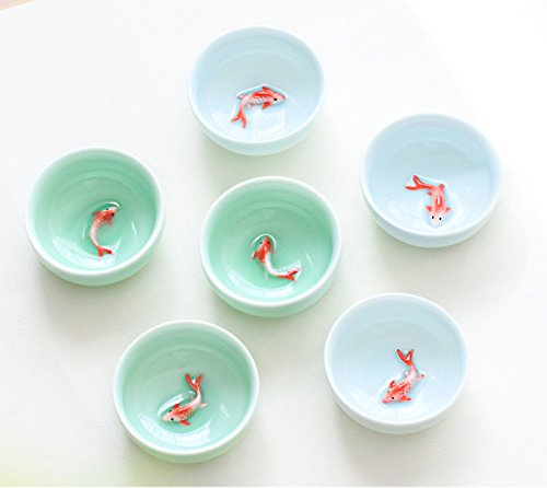 VT BigHome 6pcs Celadon Golden Fish tea set, Kung Fu Tea Cup Set Crackle Glaze Travel Tea Bowl Chinese Porcelain Teacup Set by VT BigHome