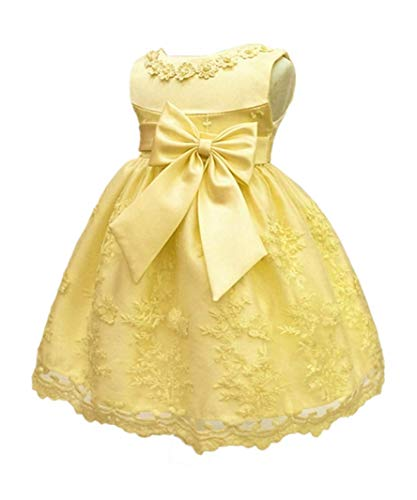 HX Baby Girl's Newborn Bowknot Gauze Christening Baptism Dress Infant Flower Girls Wedding Dresses 13 Color (12M/10-13 Months, Yellow)