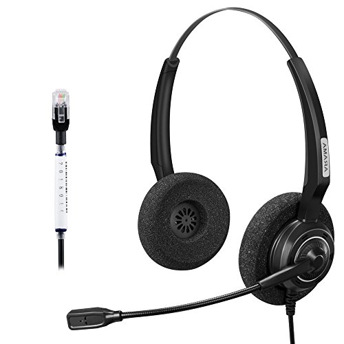 Arama Binaural Call Center Headphone Headset with Noise Canceling MIC for Yealink T41 Snom 870 Panasonic KXT Avaya 1616 9650 Cisco 7902 7912 Grandstream GXP1400 IP Phones(A200DFY) ()